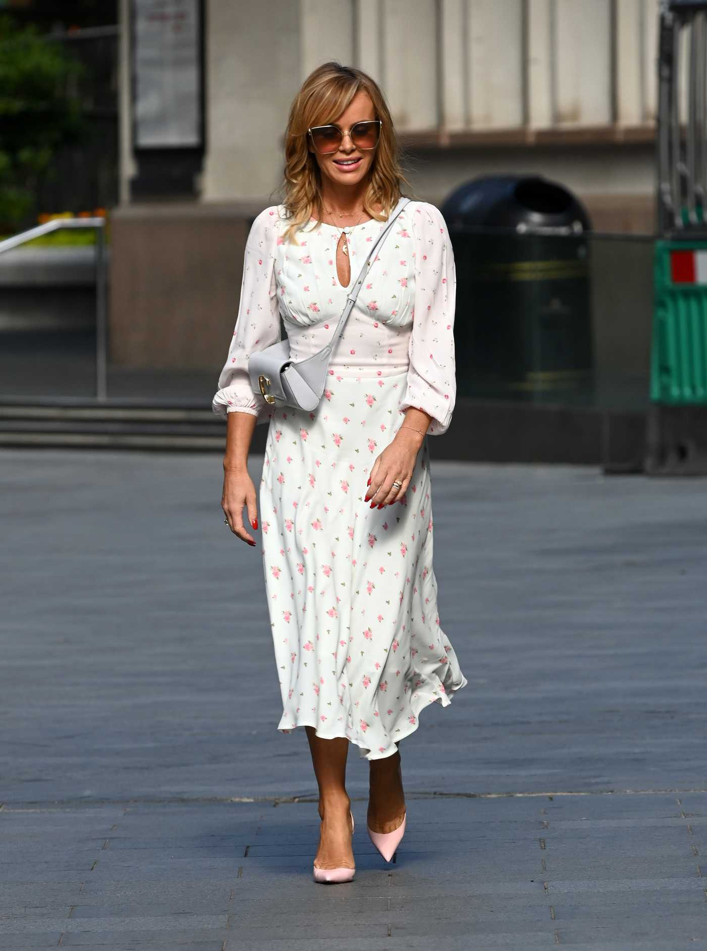 Amanda Holden in a White Floral Dress Leaves the Global Radio in London 07/17/2020