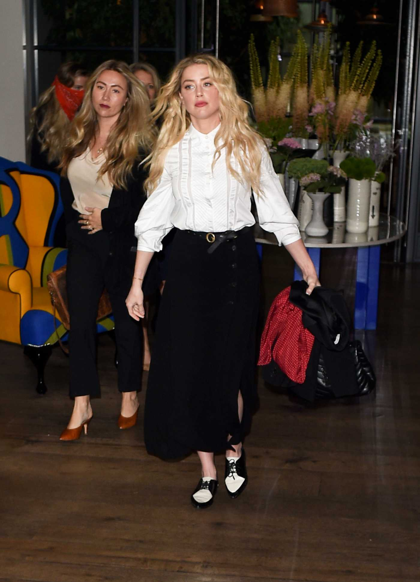 Amber Heard in a White Blouse Leaves the Ham Yard Hotel in London 07/14/2020