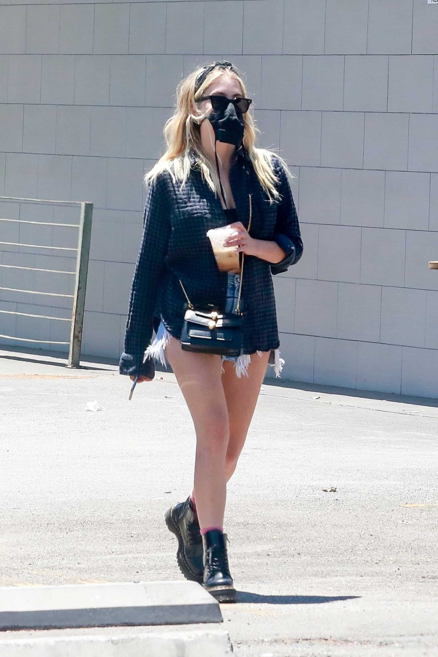 Ashley Benson in a Black Protective Mask Was Seen Out with a Friend in Los Feliz 07/18/2020