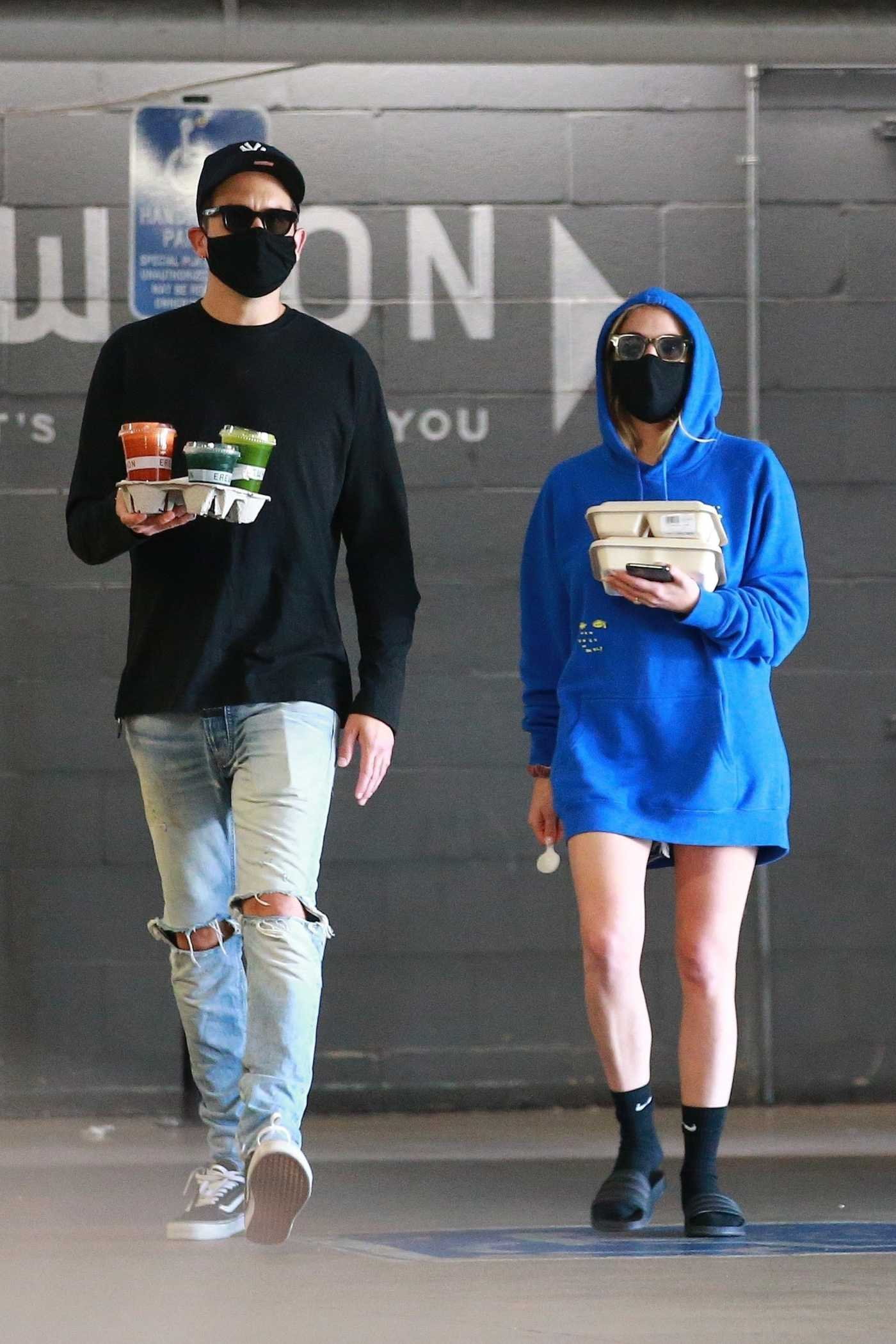 Ashley Benson in a Blue Hoody Leaves Erewhon Market Out with G-Eazy in Los Angeles 07/14/2020