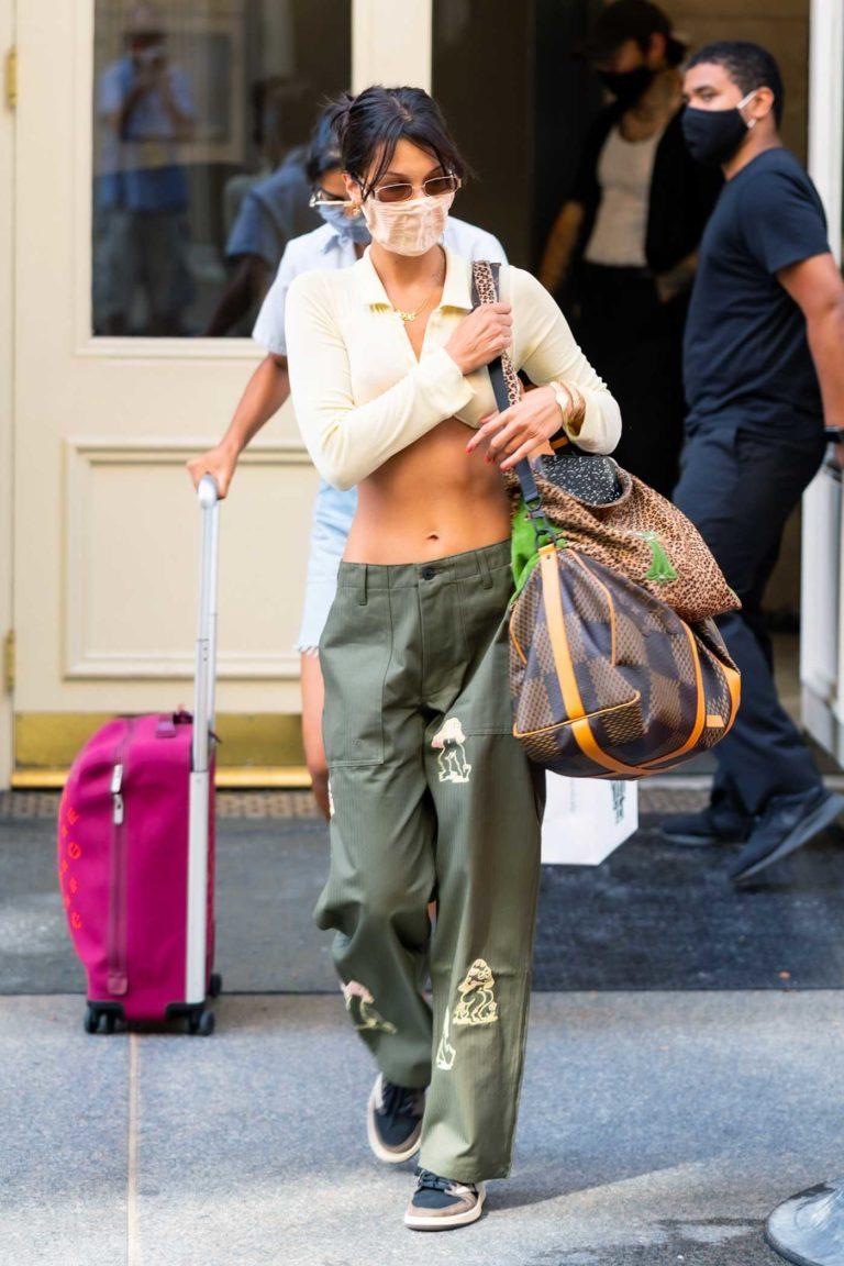 Bella Hadid in a Green Pants