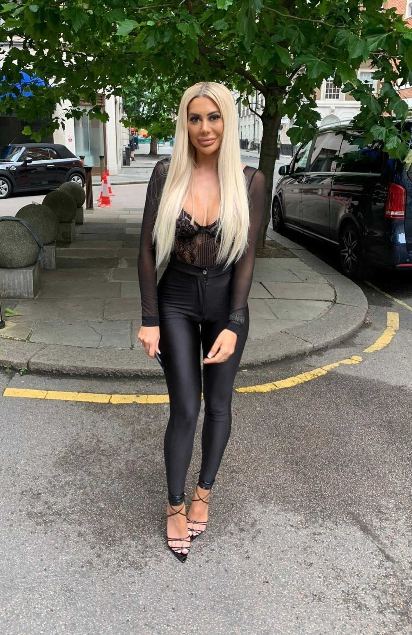 Chloe Ferry in a Black Blouse Was Seen Out in London 07/09/2020