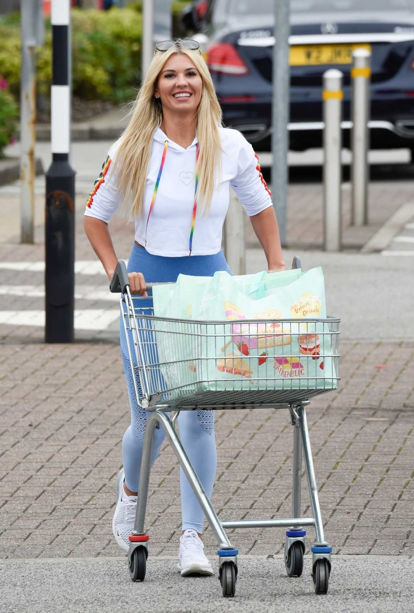 Christine McGuinness in a White Sneakers Goes Shopping at Marks and Spencers in Cheshire 07/09/2020