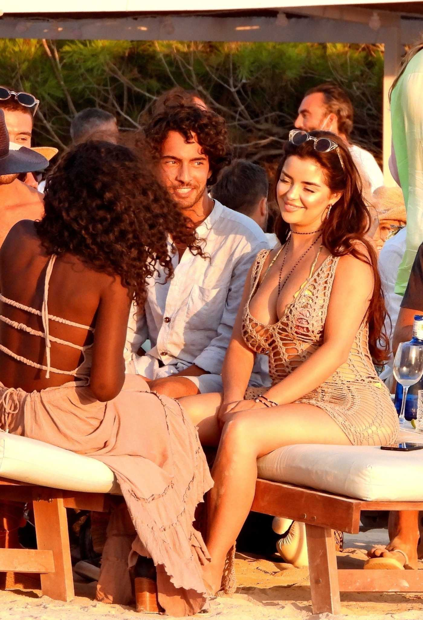 Demi Rose in a Beige See-Through Dress on the Beach in Formentera 07/26/2020