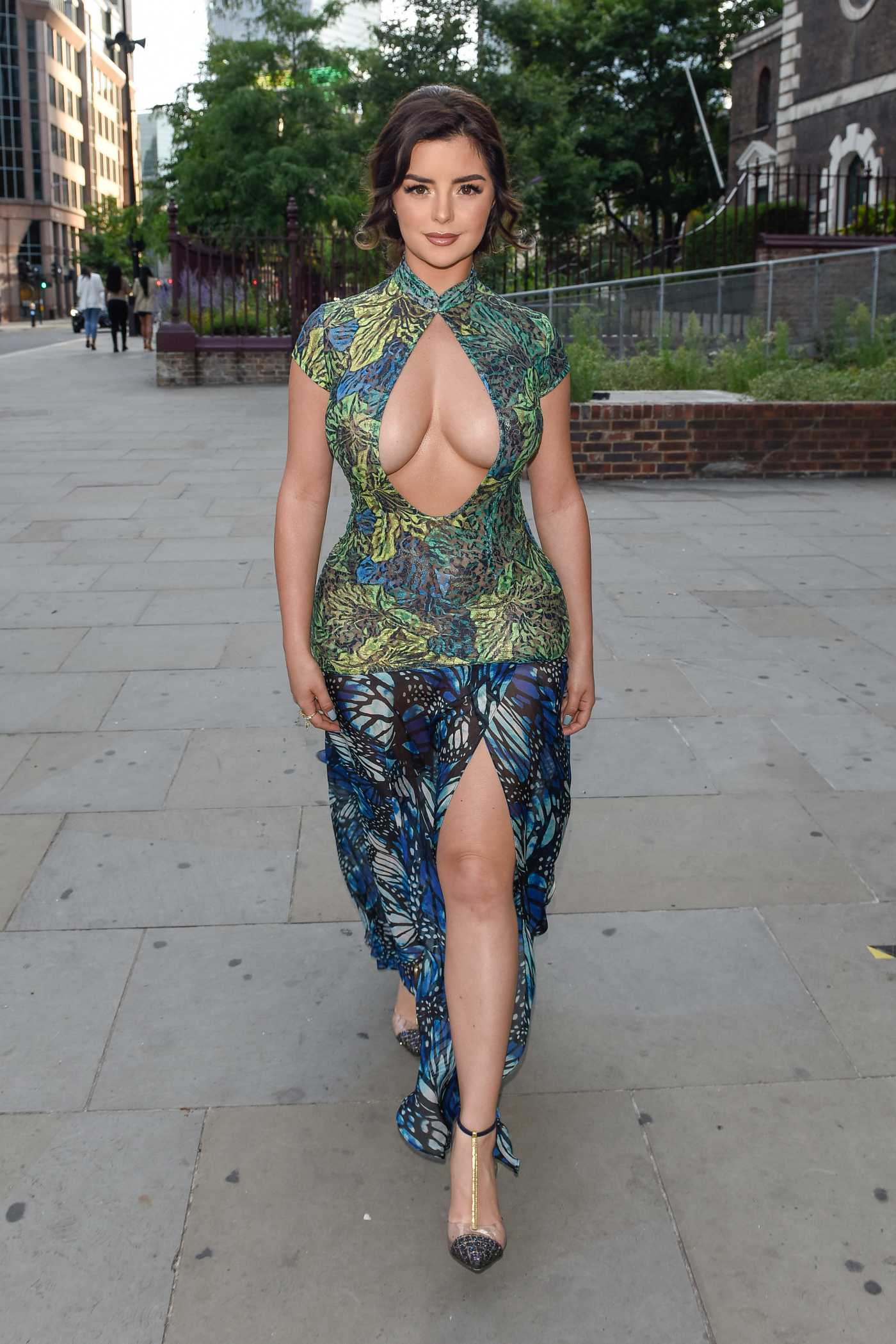 Demi Rose in a Butterfly Print Dress Arrives at Jin Bo Law Restaurant in London 07/12/2020