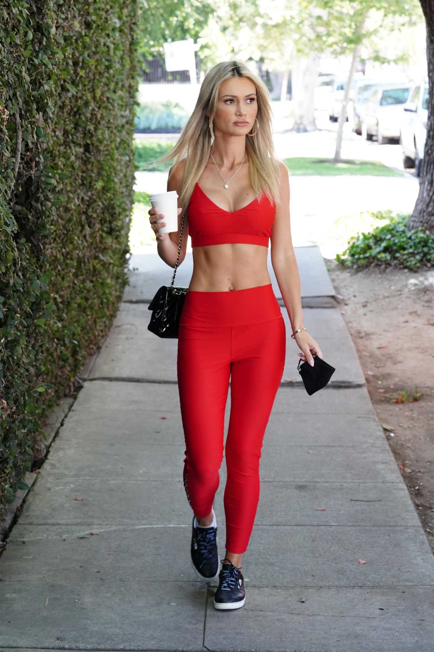 Ella Rose in a Red Sports Bra Grabs Coffee at Alfreds Coffee in West Hollywood 07/02/2020