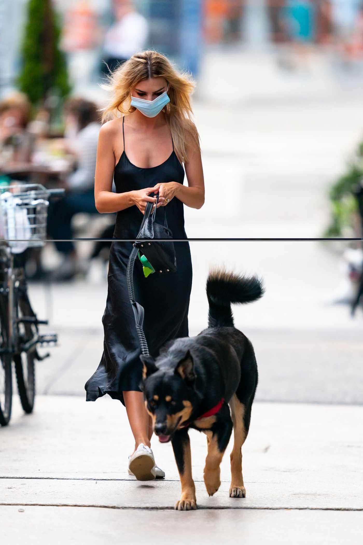 Emily Ratajkowski in a Black Dress Walks Her Dog Colombo in New York City 07/07/2020