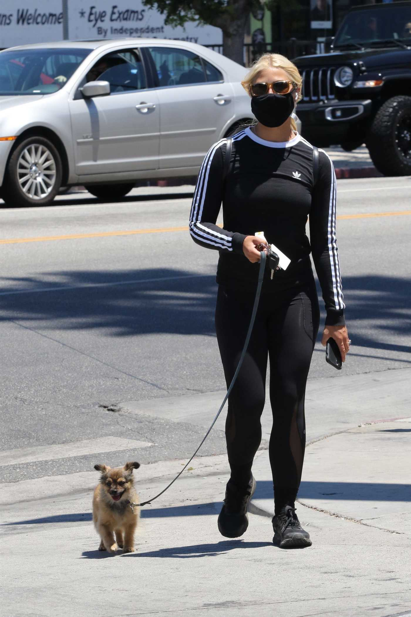 Emma Slater in a Black Adidas Long Sleeves T-Shirt Walks Her Dog in Los Angeles 07/19/2020