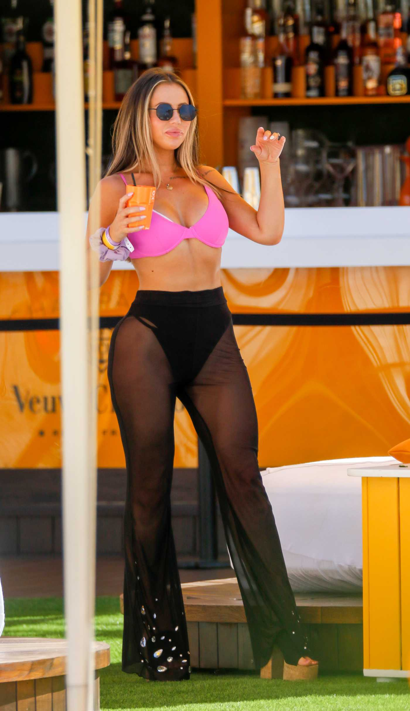 Holly Hagan in a Pink Bikini Top Has a Great Time at O Beach in Ibiza 07/11/2020
