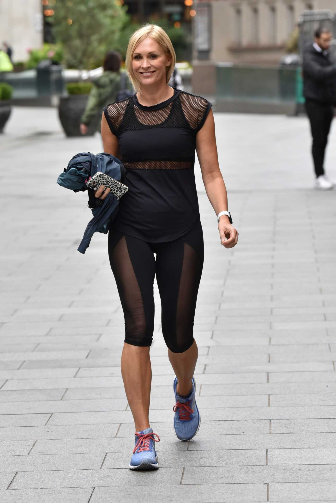 Jenni Falconer in a Black Leggings Exits the Smooth Radio in London 07/09/2020