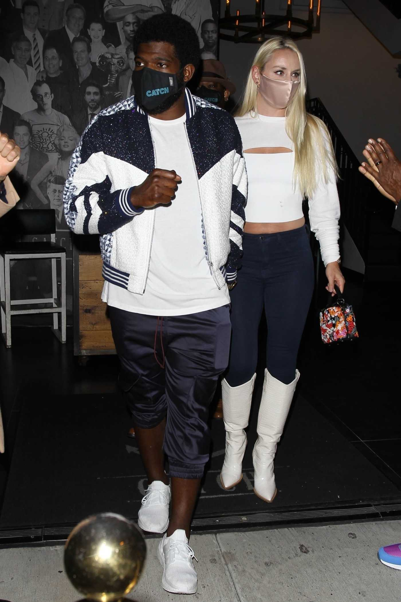 Lindsey Vonn in a White Top Out with P.K. Subban Leaves Catch Restaurant in West Hollywood 07/03/2020