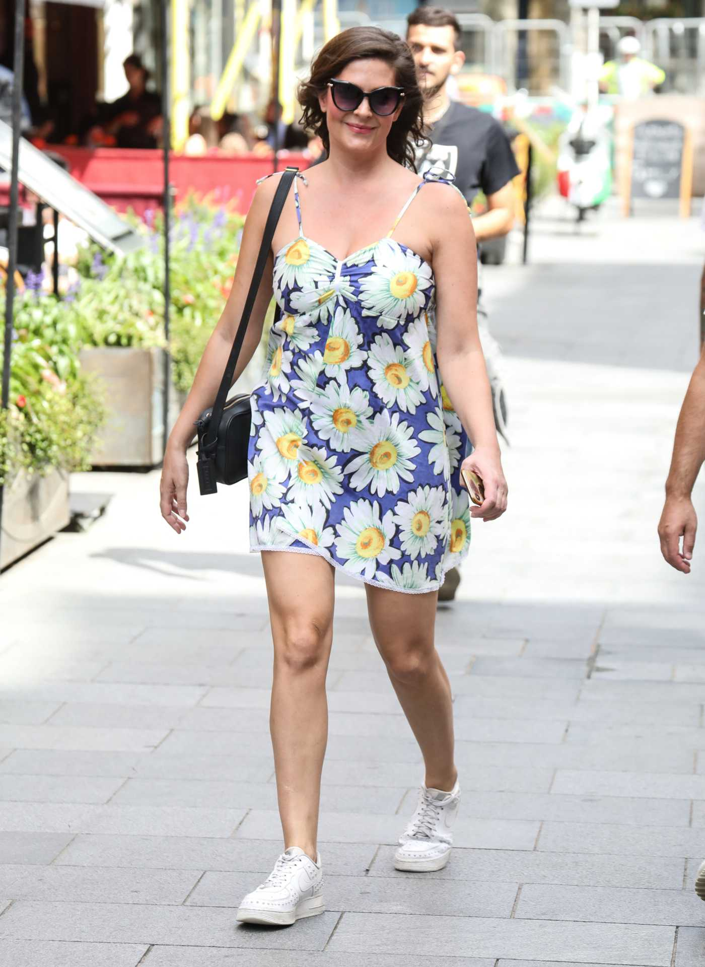 Lucy Horobin in a Floral Print Dress Arrives at the Global Radio Studios in London 07/13/2020