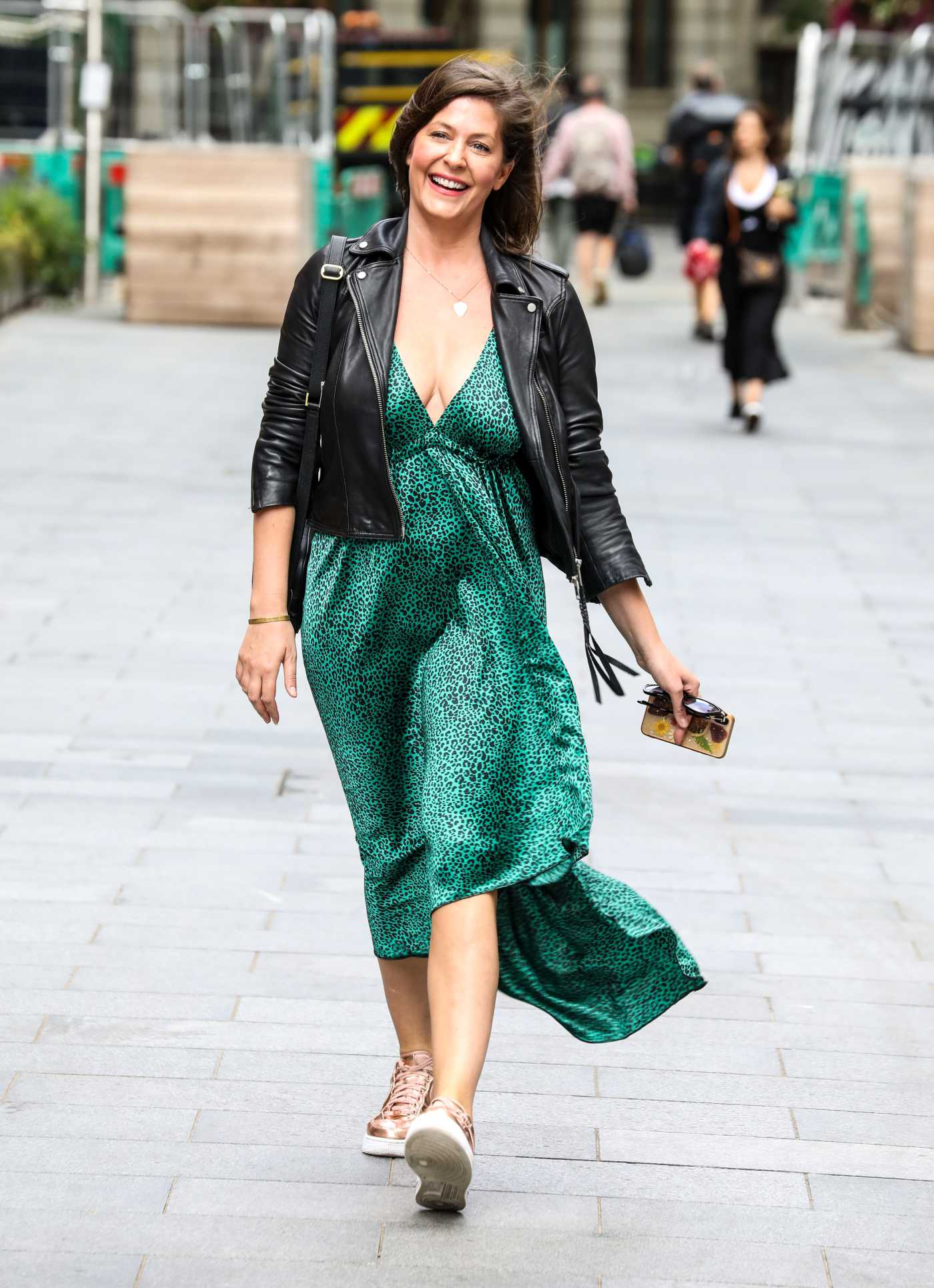 Lucy Horobin in a Green Animal Print Dress Arrives at the Global Radio Studios in London 07/03/2020
