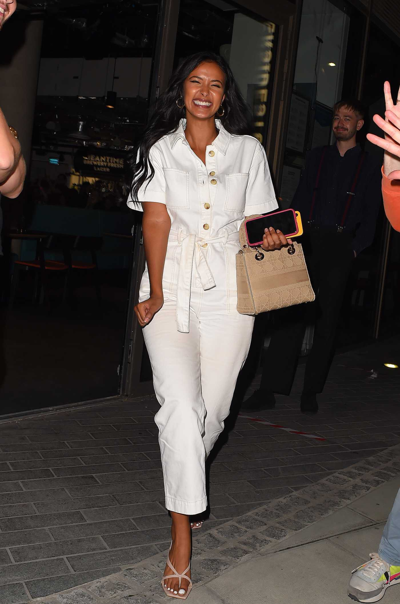 Maya Jama in a White Jumpsuit Was Seen Out in London 07/14/2020