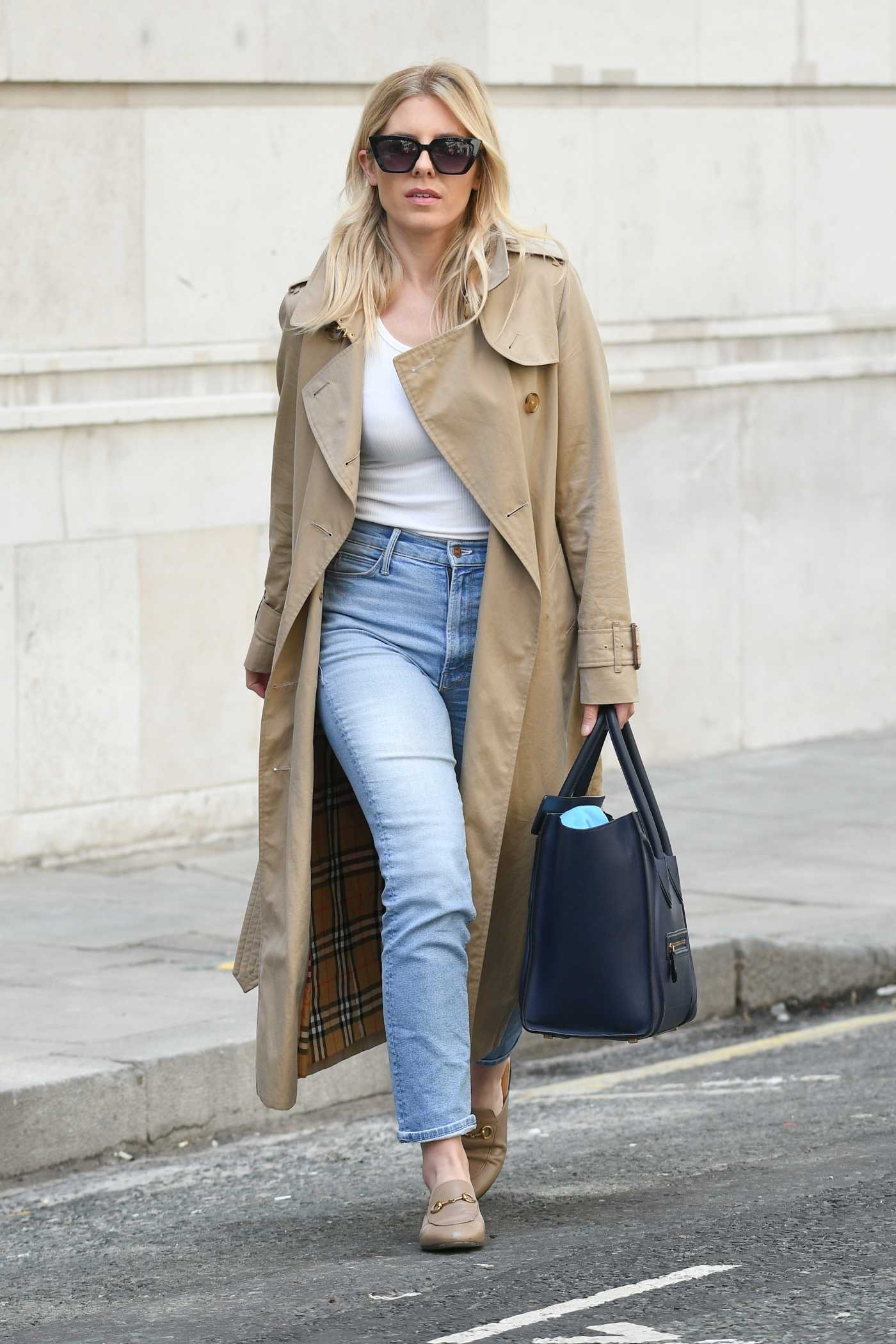Mollie King in a Beige Trench Coat Was Seen Out in Central London 07/12/2020