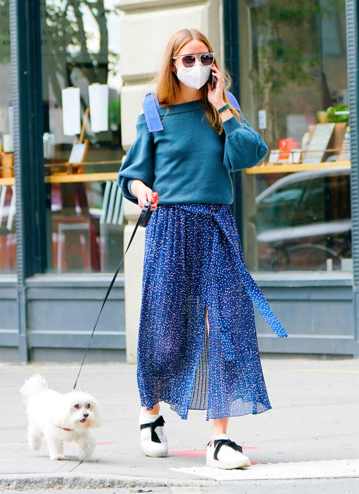 Olivia Palermo in a Blue Skirt Walks Her Dog in Brooklyn, New York 07/01/2020