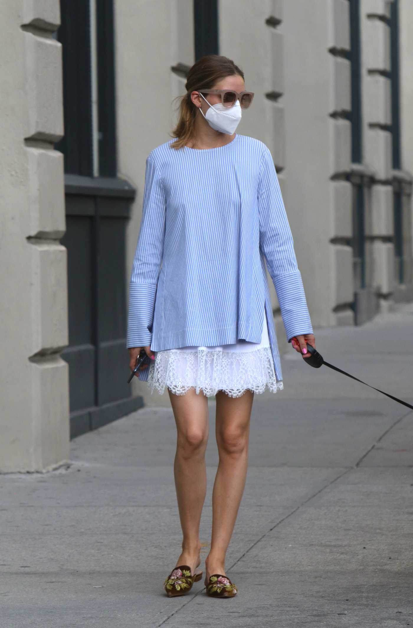 Olivia Palermo in a Protective Mask Walks Her Dog in Downtown, Brooklyn 07/19/2020