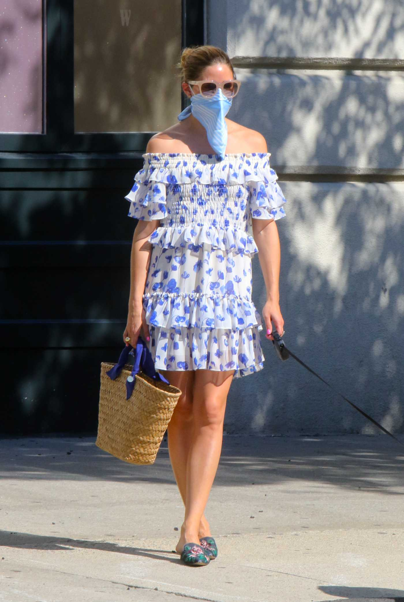 Olivia Palermo in a White and Blue Summer Dress Walks Her Dog Mr Butler in Dumbo, Brooklyn 07/30/2020
