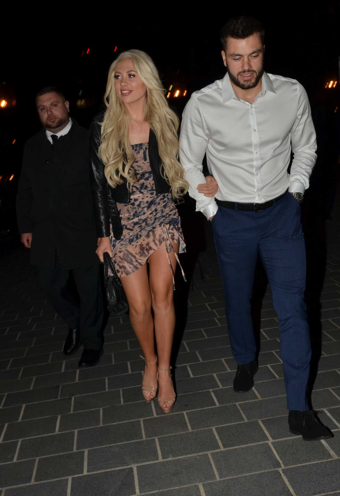 Paige Turley in a Black Jacket Arrives at Dakota Restaurant Out with Finley Tapp in Manchester 07/11/2020