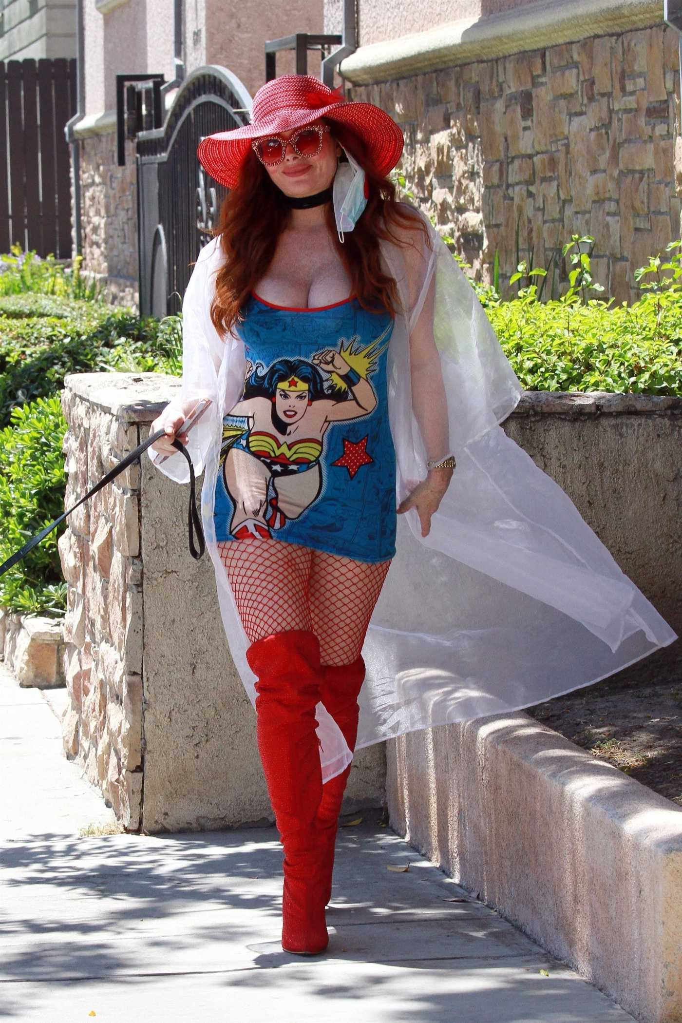 Phoebe Price in a Wonder Woman Mini Dress Walks Her Dog in Los Angeles 07/08/2020