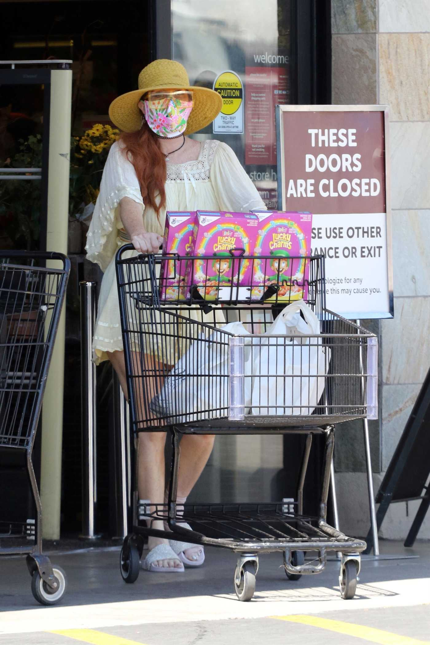Phoebe Price in a Yellow Mini Dress Goes Shopping in Los Angeles 07/30/2020