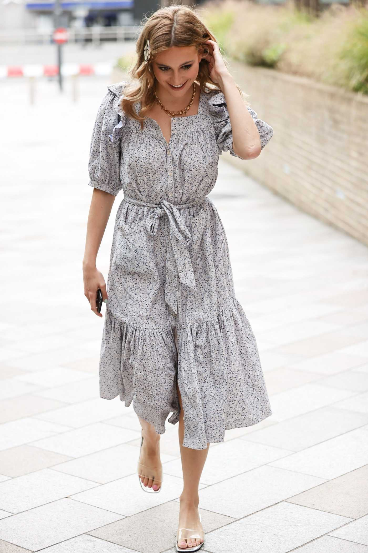 Pixie Lott in a Gray Floral Dress Arrives at the Sunday Brunch TV Show in London 07/26/2020