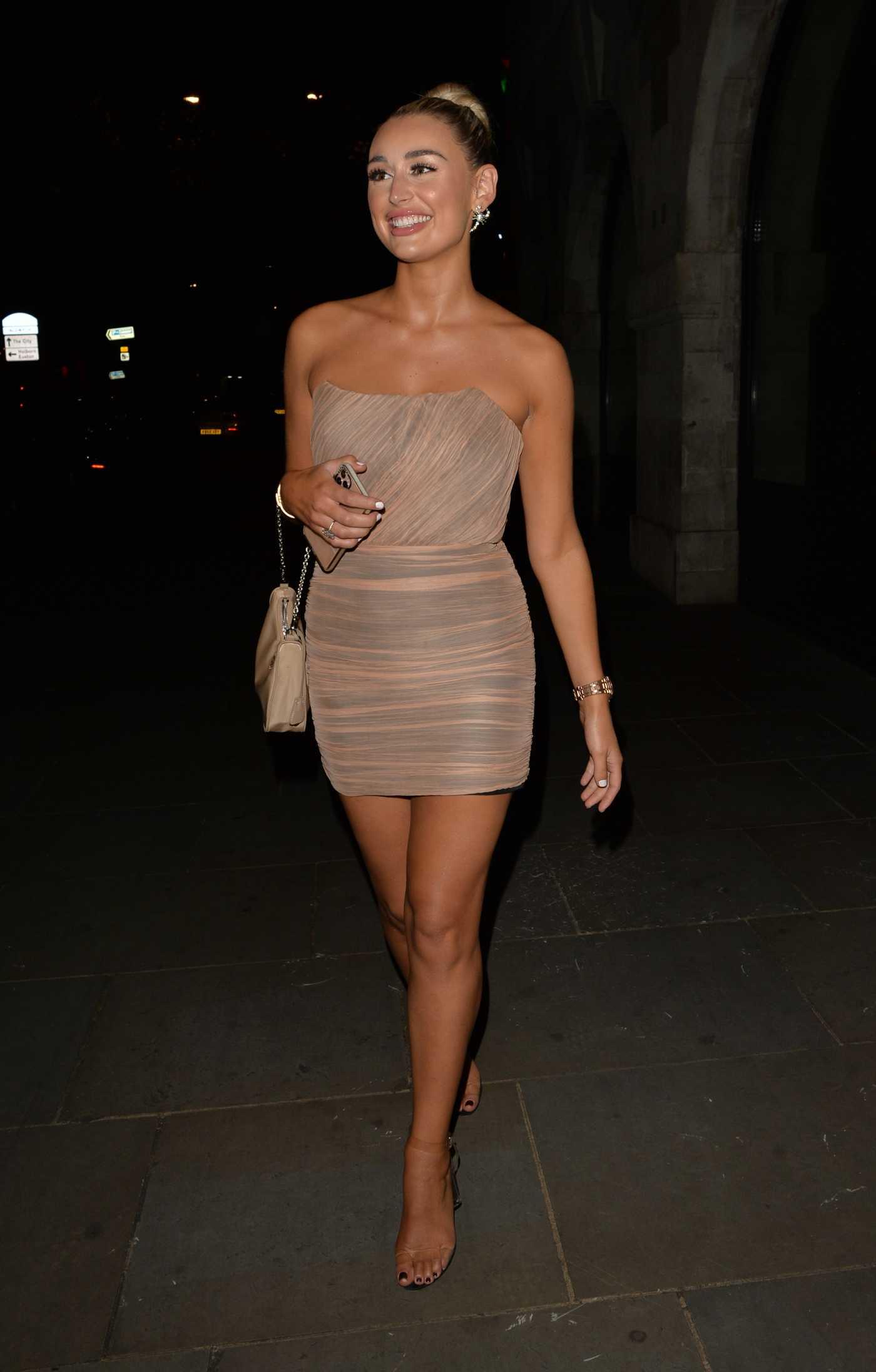 Rachel Fenton in a Beige Dress Heads Out for Dinner at Stk Restaurant in London 07/11/2020