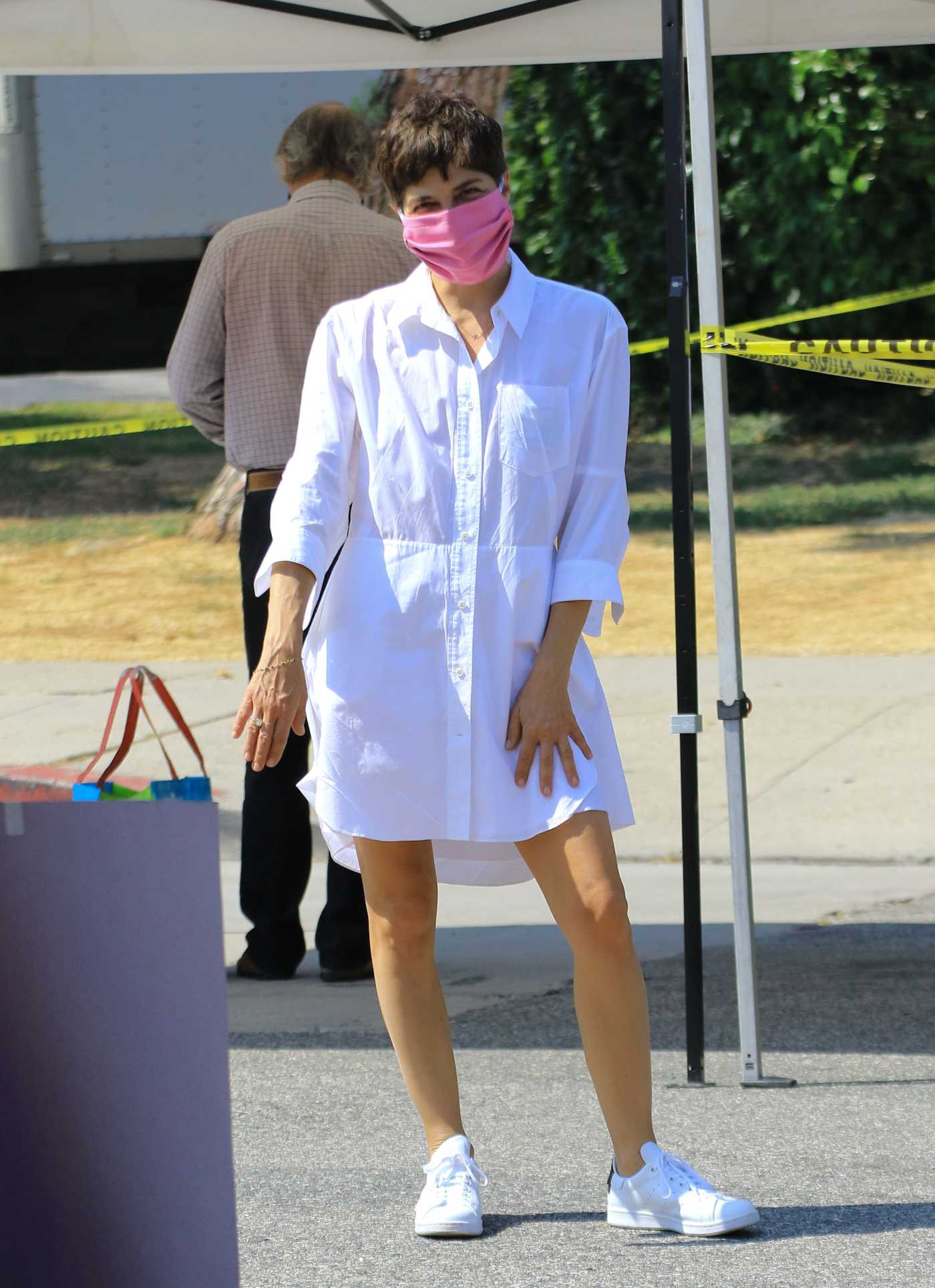Selma Blair in a White Shirt Dress Was Seen Out with Her Boyfriend Ron Carlson in Los Angeles 07/05/2020