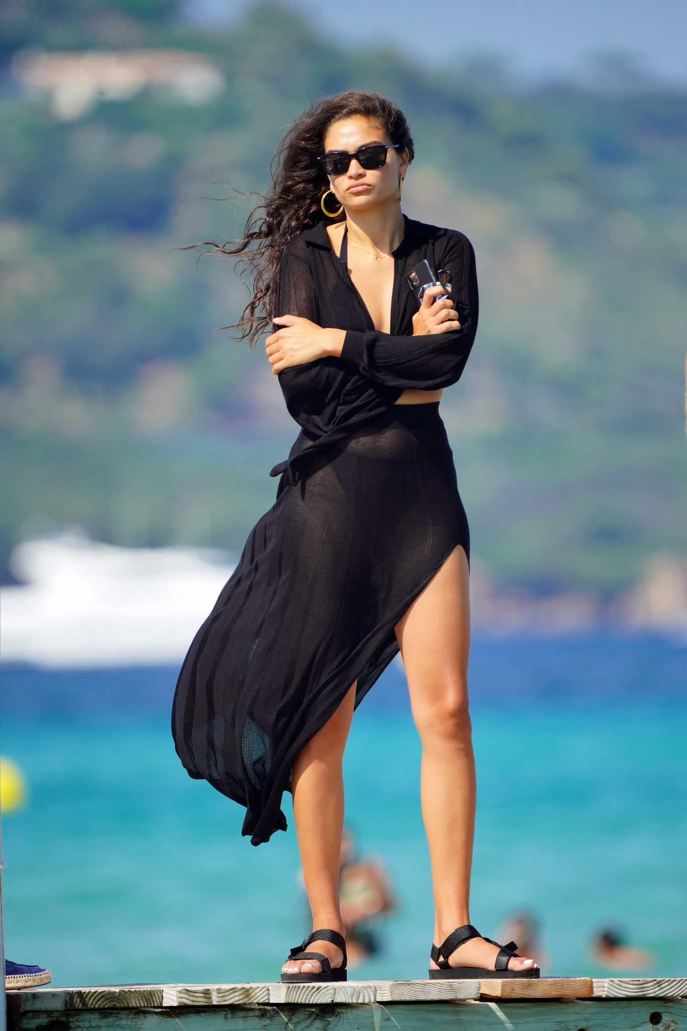 Shanina Shaik in a Black Dress Was Seen with Her Boyfriend Seyed Payam Mirtorabi at Club 55 Beach in St Tropez 07/23/2020