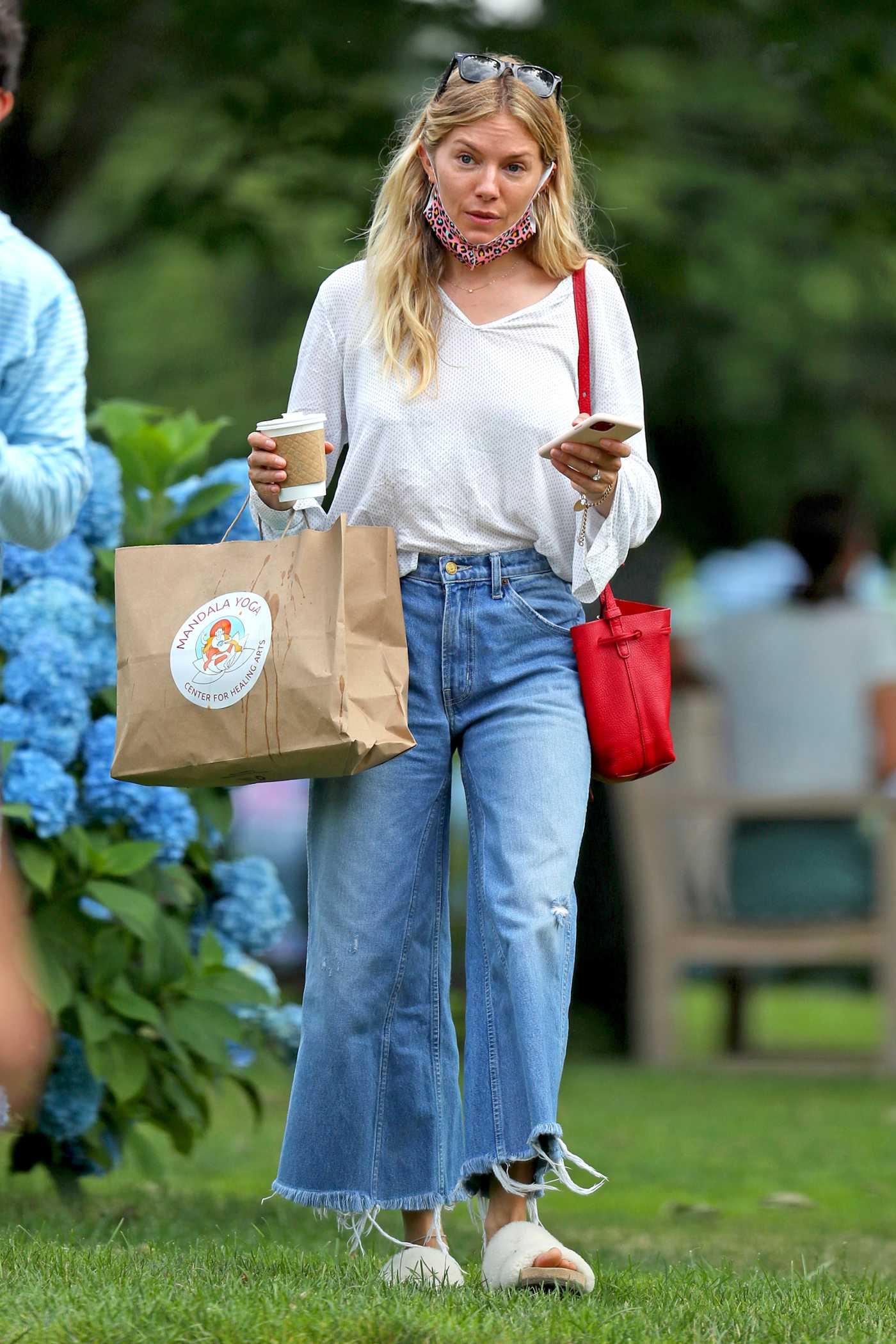 Sienna Miller in a White Blouse Was Seen Out in The Hamptons, New York 07/15/2020