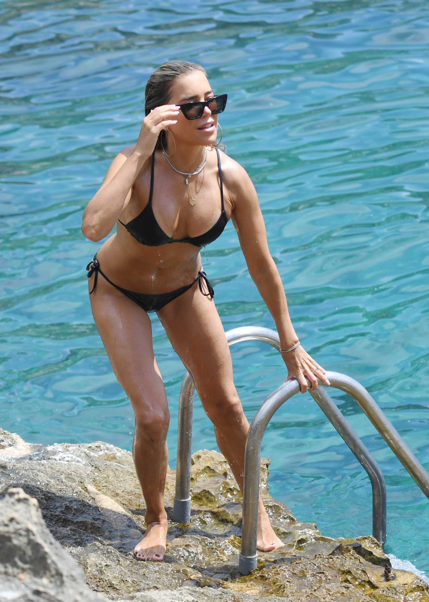 Sylvie Meis in a Black Bikini on the Beach in Mallorca, Spain 07/22/2020