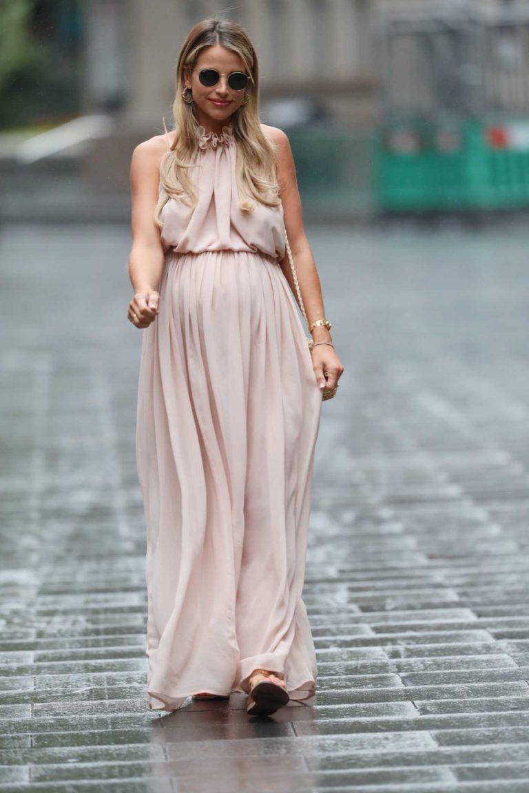 Vogue Williams in a Beige Dress
