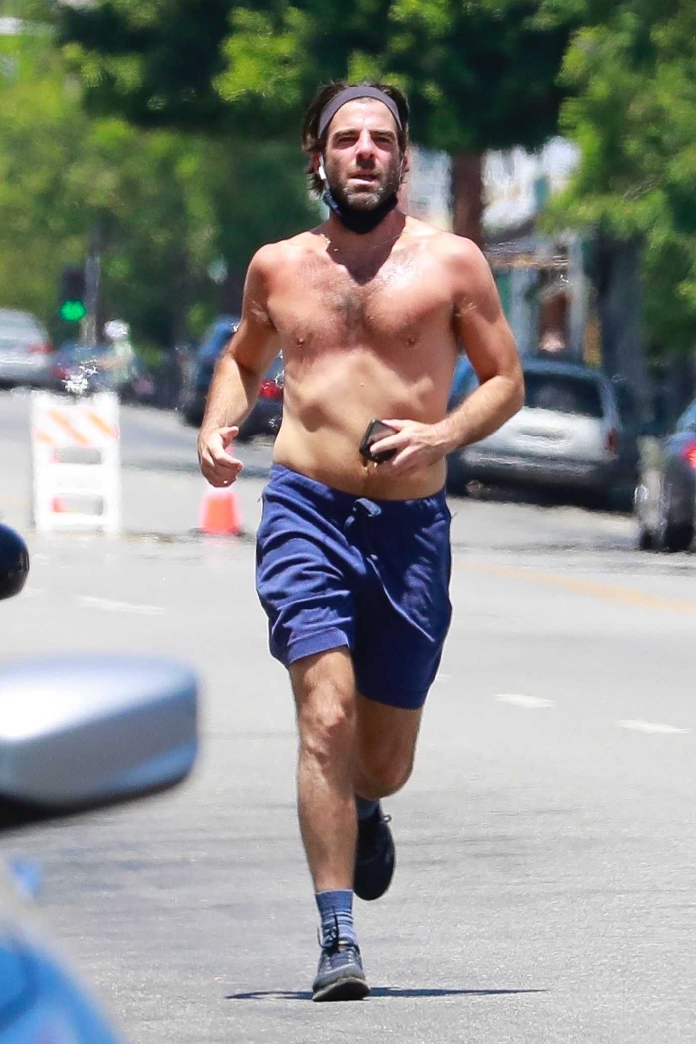 Zachary Quinto in a Blue Shorts Does an Afternoon Run in Los Feliz 07/26/2020