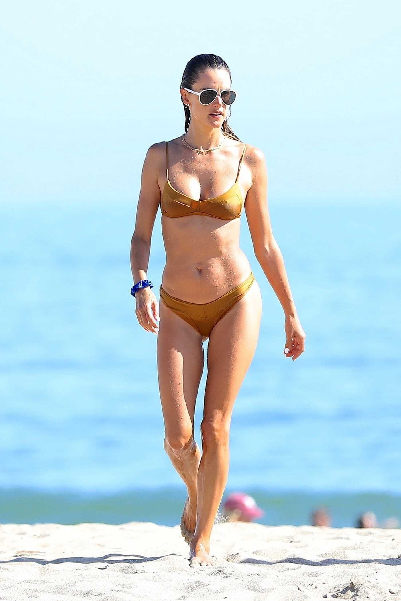Alessandra Ambrosio in a Gold Bikini on the Beach in Malibu 08/02/2020