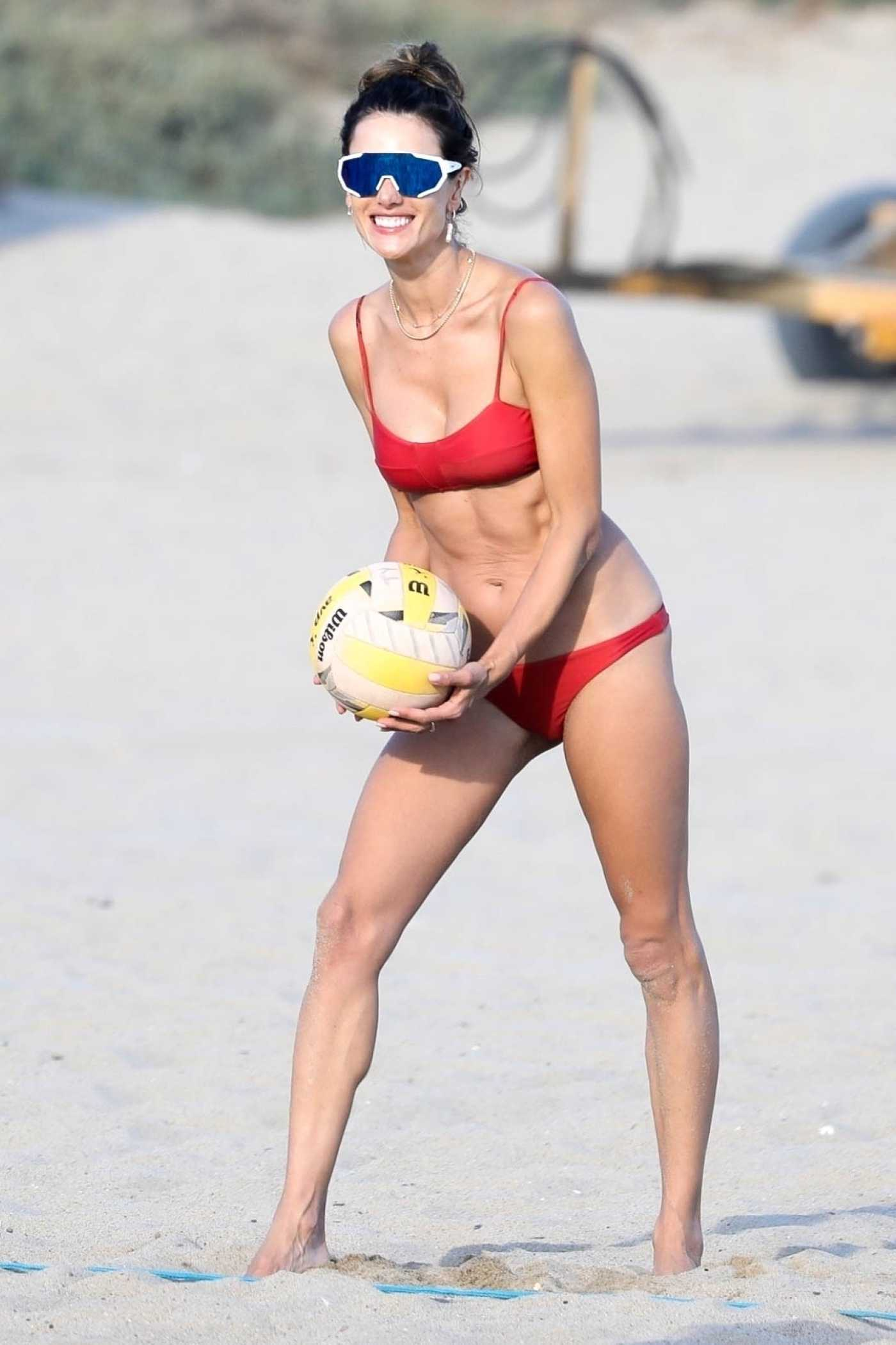 Alessandra Ambrosio in a Red Bikini Plays Volleyball on the Beach in Malibu 08/15/2020