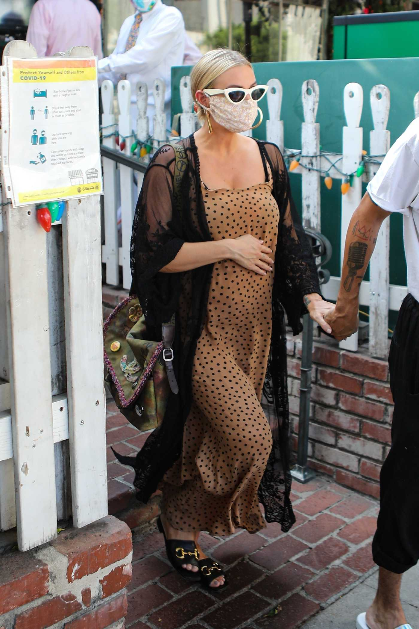 Ashlee Simpson in a Beige Polka Dot Dress Holds Hands with Her Husband Evan Ross After Lunch at The Ivy in Los Angeles 08/22/2020