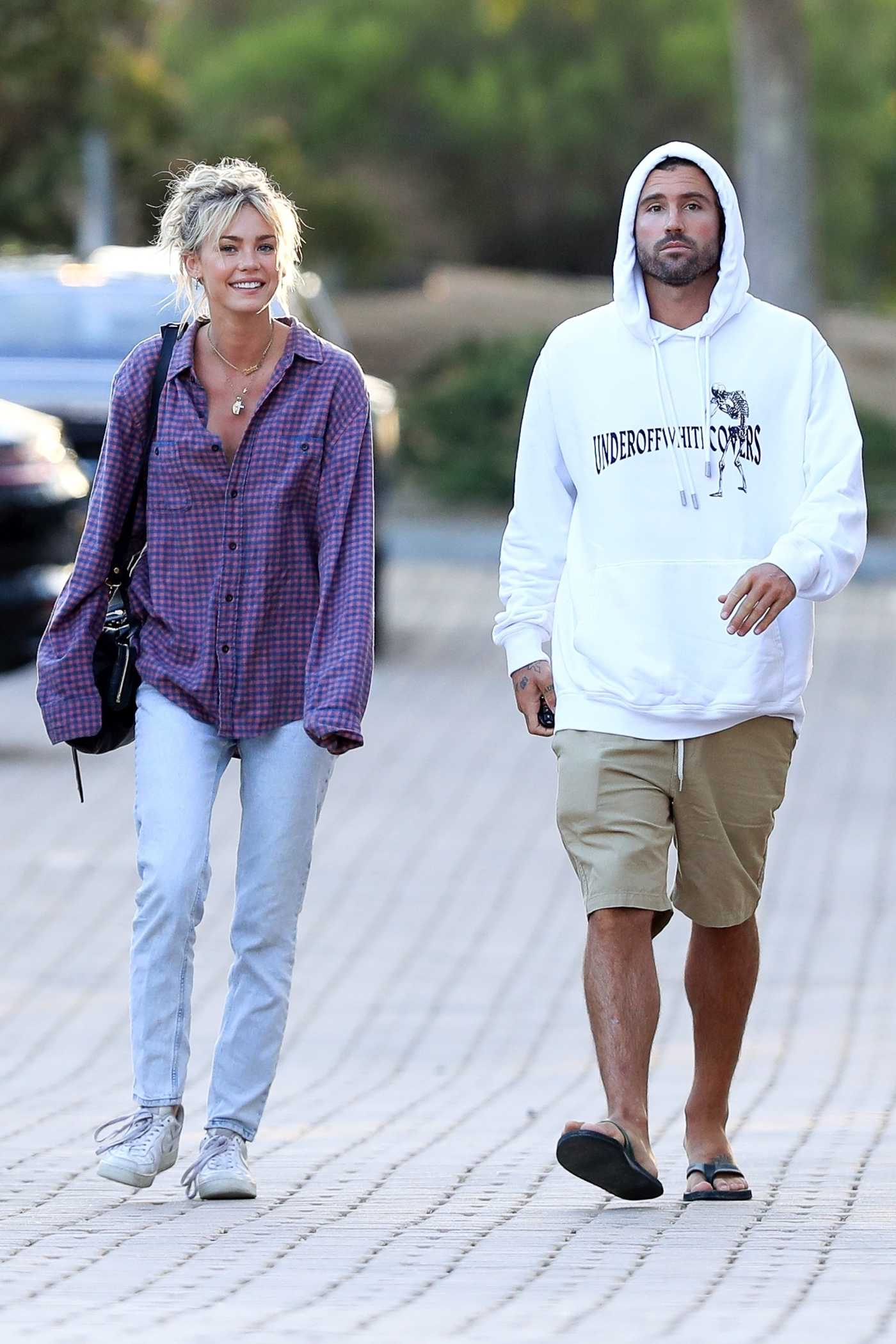 Briana Jungwirth in a Purple Plaid Shirt Was Seen Out with Brody Jenner in Malibu 08/01/2020