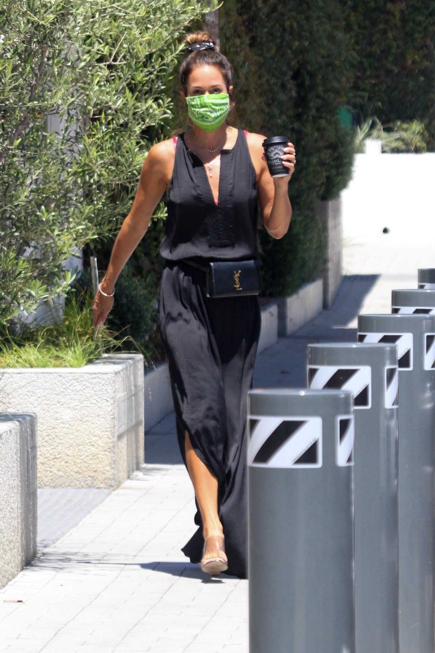 Brooke Burke in a Black Flowing Dress Stops for a Coffee in Malibu 08/12/2020