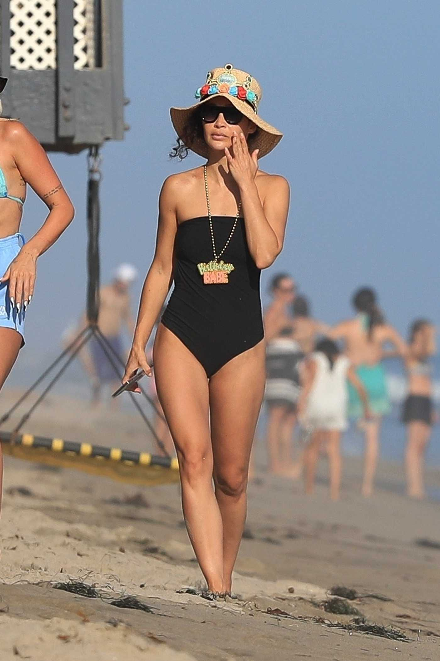 Cara Santana in a Black Swimsuit Celebrates Her Birthday on the Beach in Malibu 08/15/2020