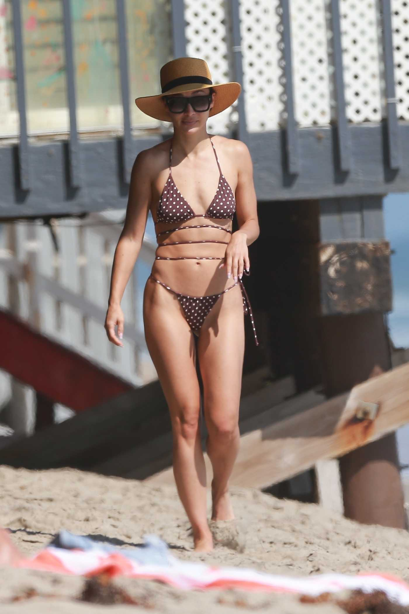 Cara Santana in a Brown Polka Dot Bikini on the Beach in Malibu 08/27/2020