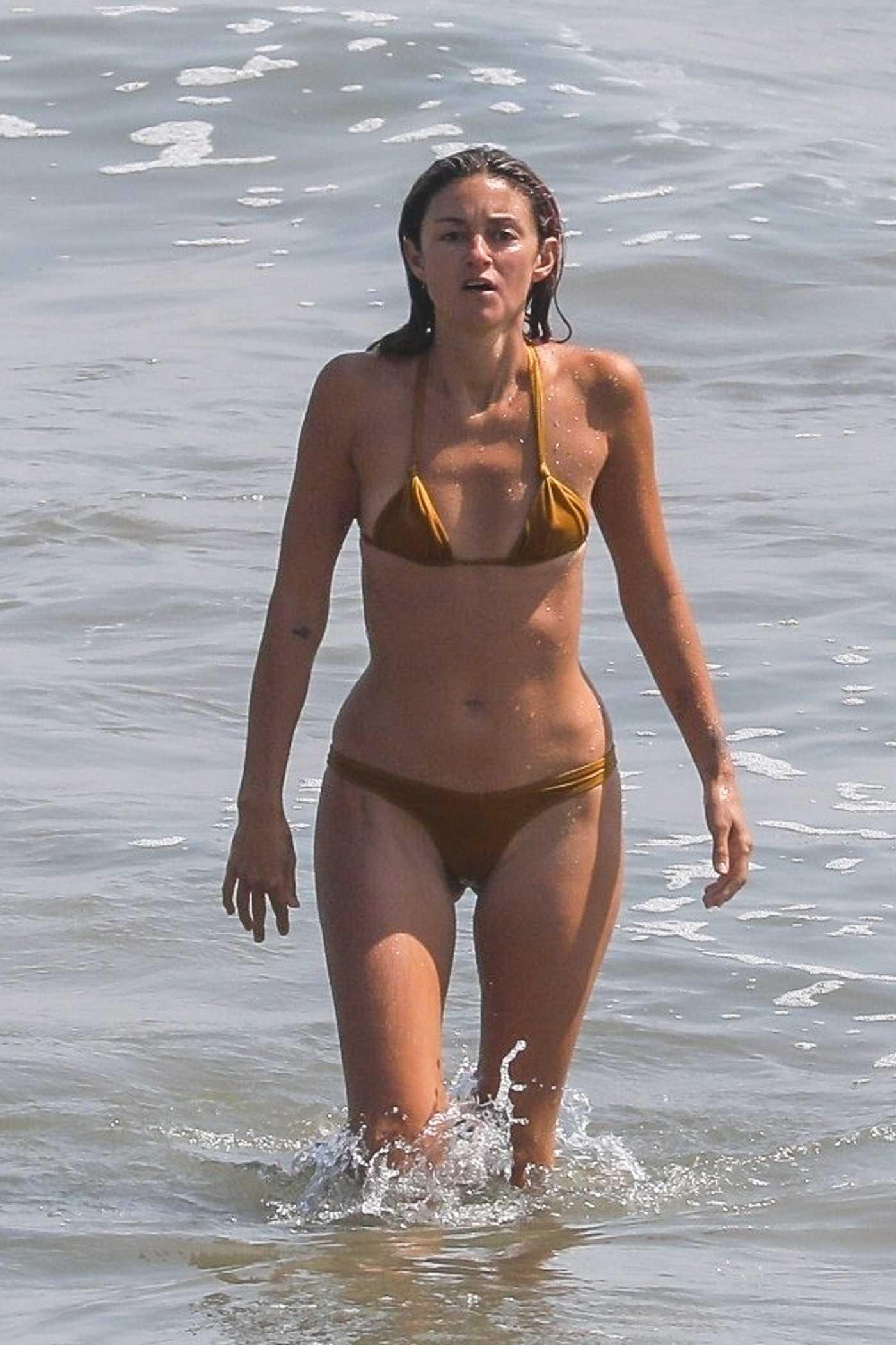 Caroline D'Amore in a Gold Bikini on the Beach in Malibu 08/17/2020