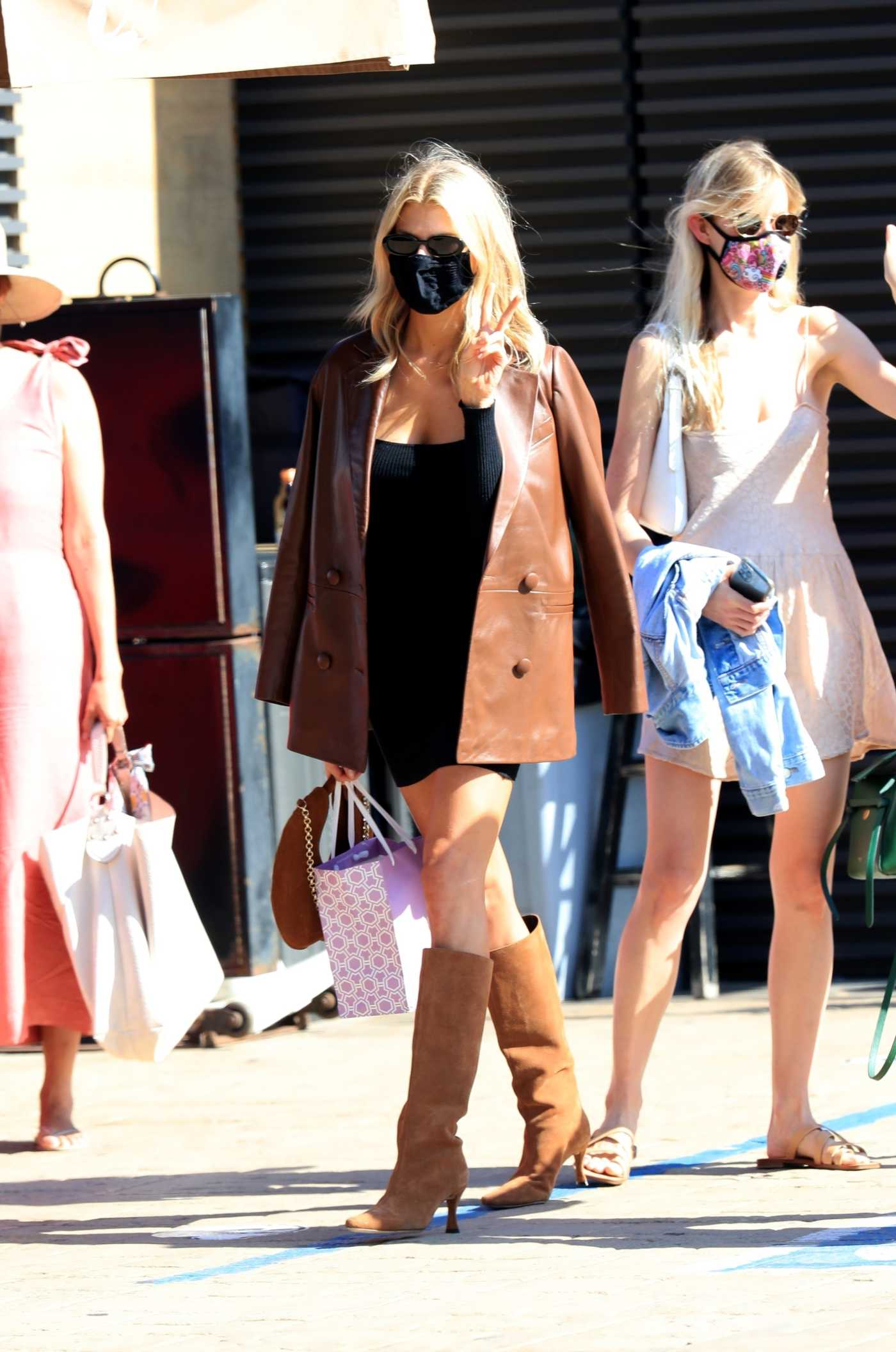 Charlotte McKinney in a Tan Leather Blazer Was Seen Out with Friends at Nobu in Malibu 08/06/2020