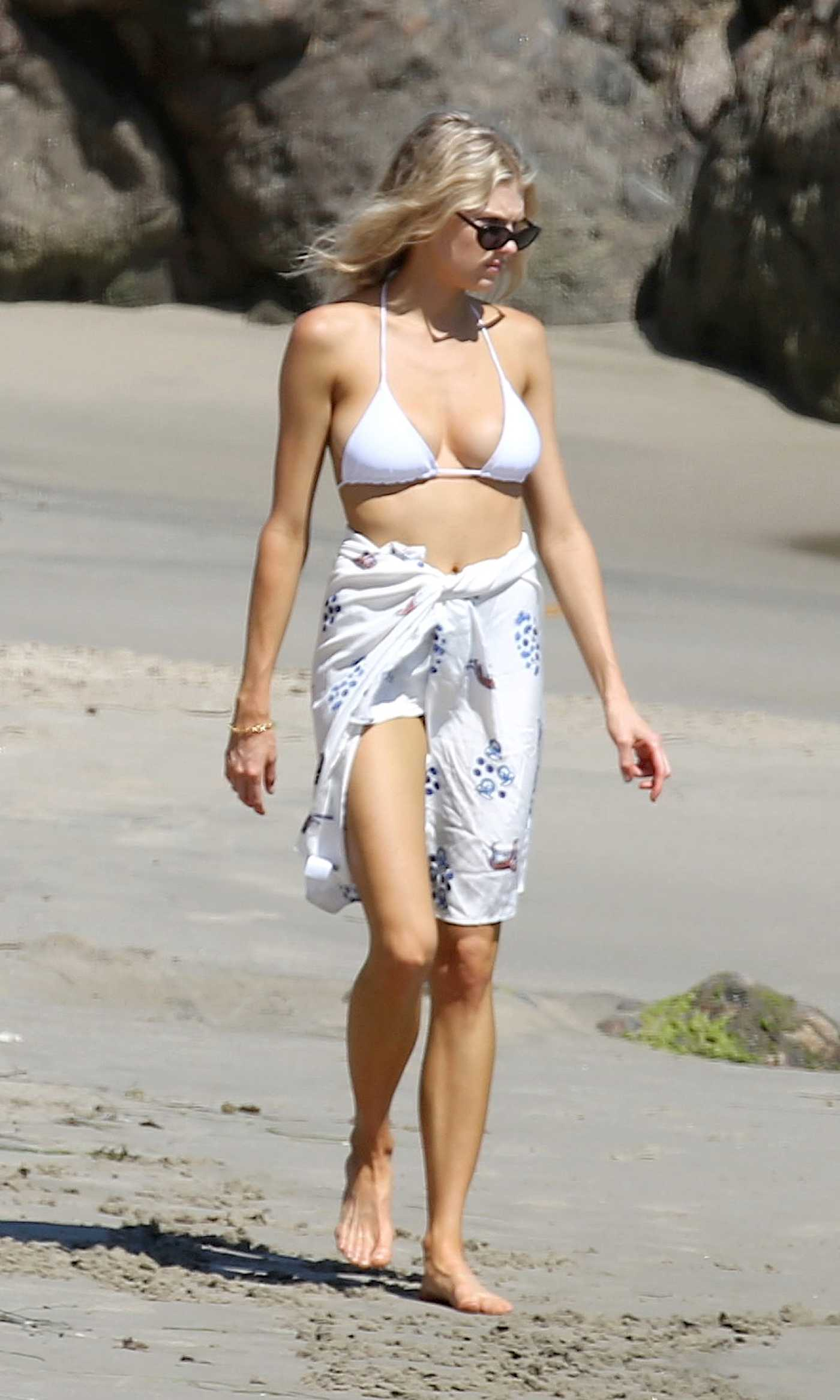 Charlotte Mckinney in a White Bikini on the Beach in Los Angeles 08/28/2020