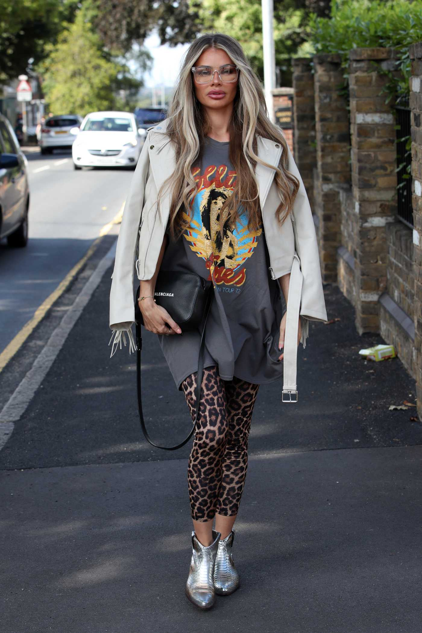 Chloe Sims in a White Leather Jacket Was Seen Out in Essex 08/02/2020