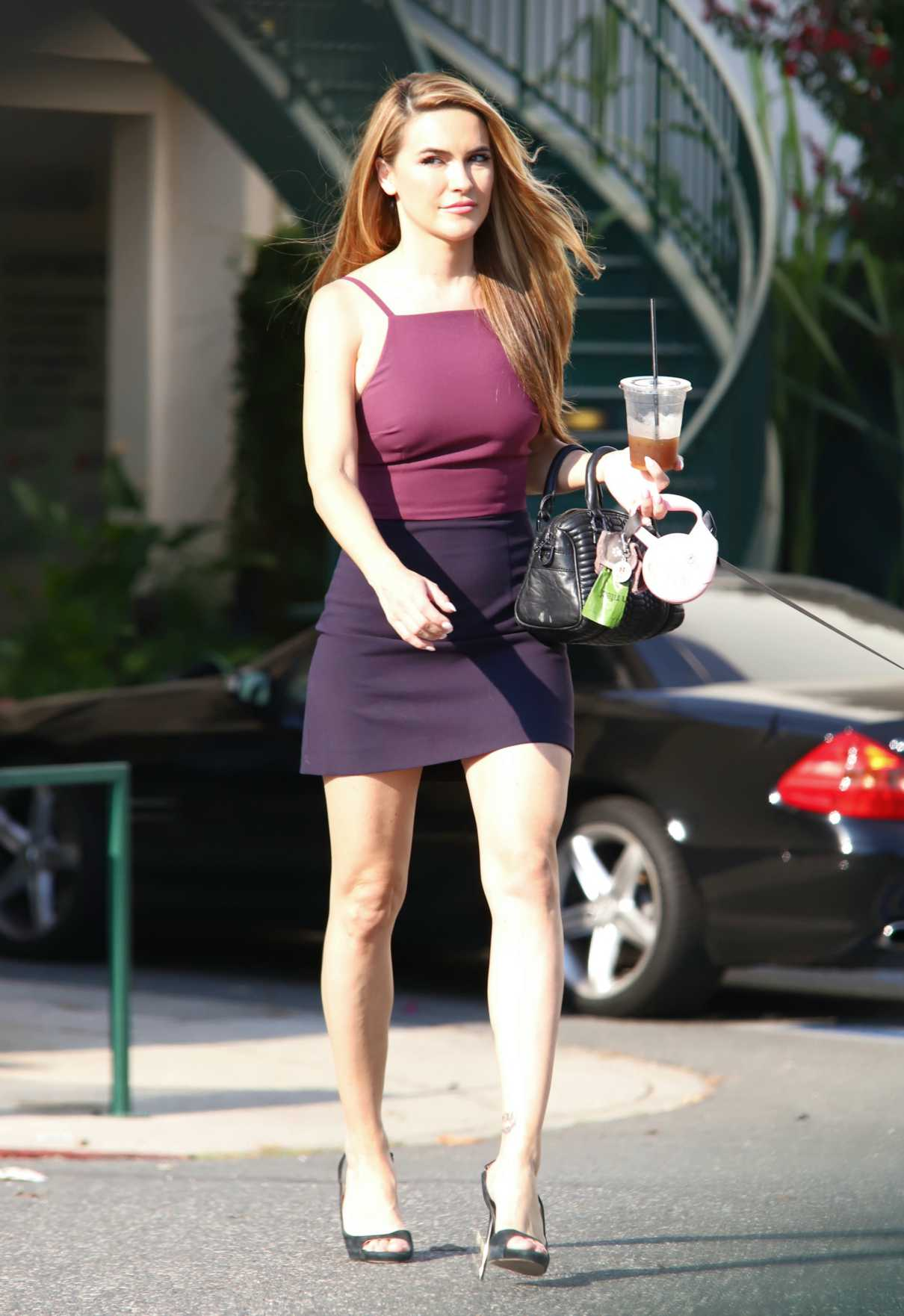 Chrishell Stause in a Purple Top Was Seen Out in Beverly Hills 08/17/2020