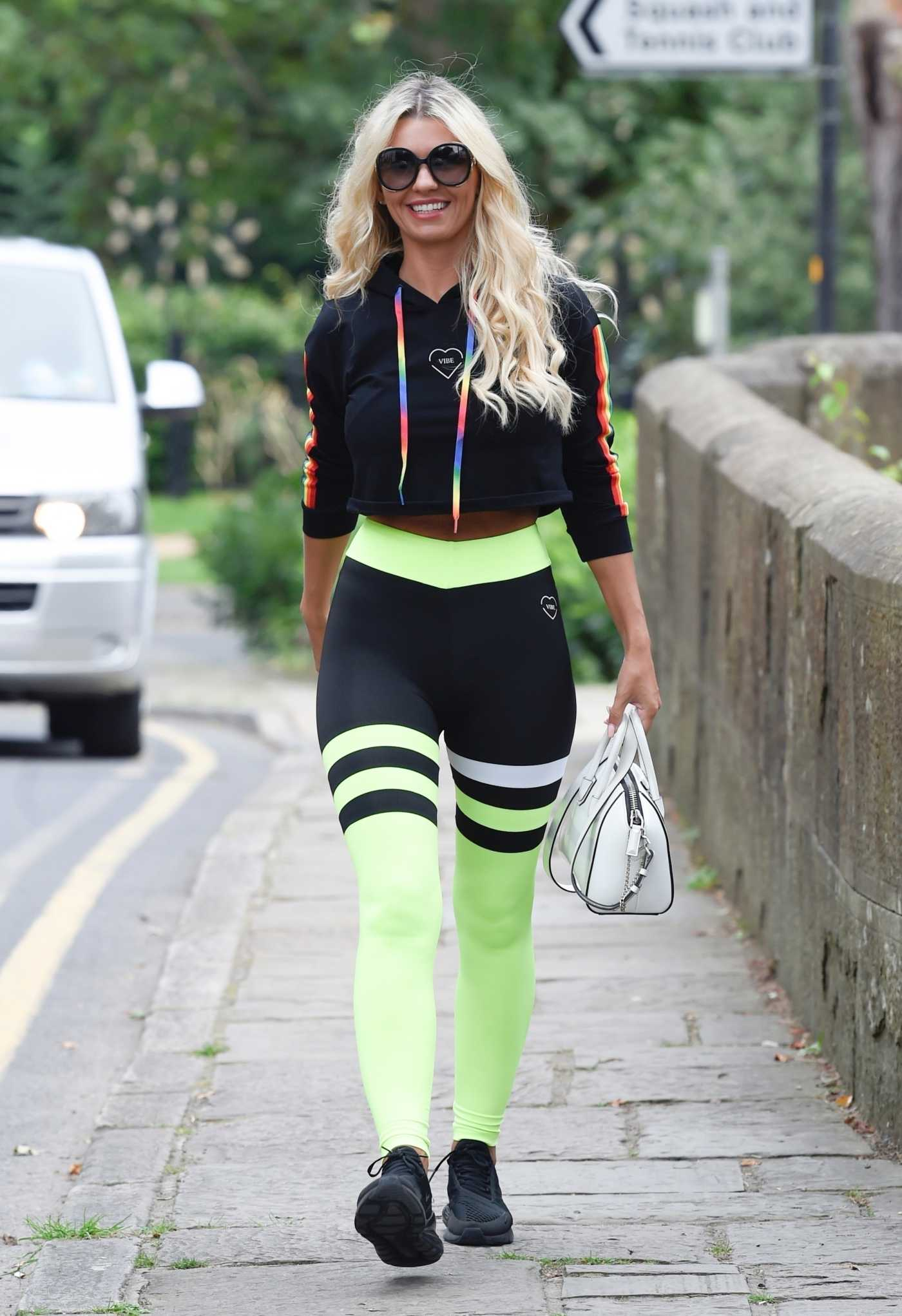 Christine McGuinness in a Black Sneakers Was Seen Out in Cheshire 08/15/2020