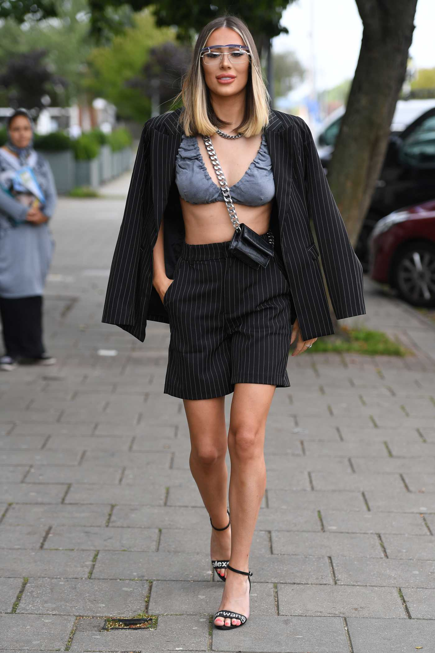 Demi Sims in a Grey Bra on the Set of The Only Way is Essex TV Show in Essex 08/21/2020