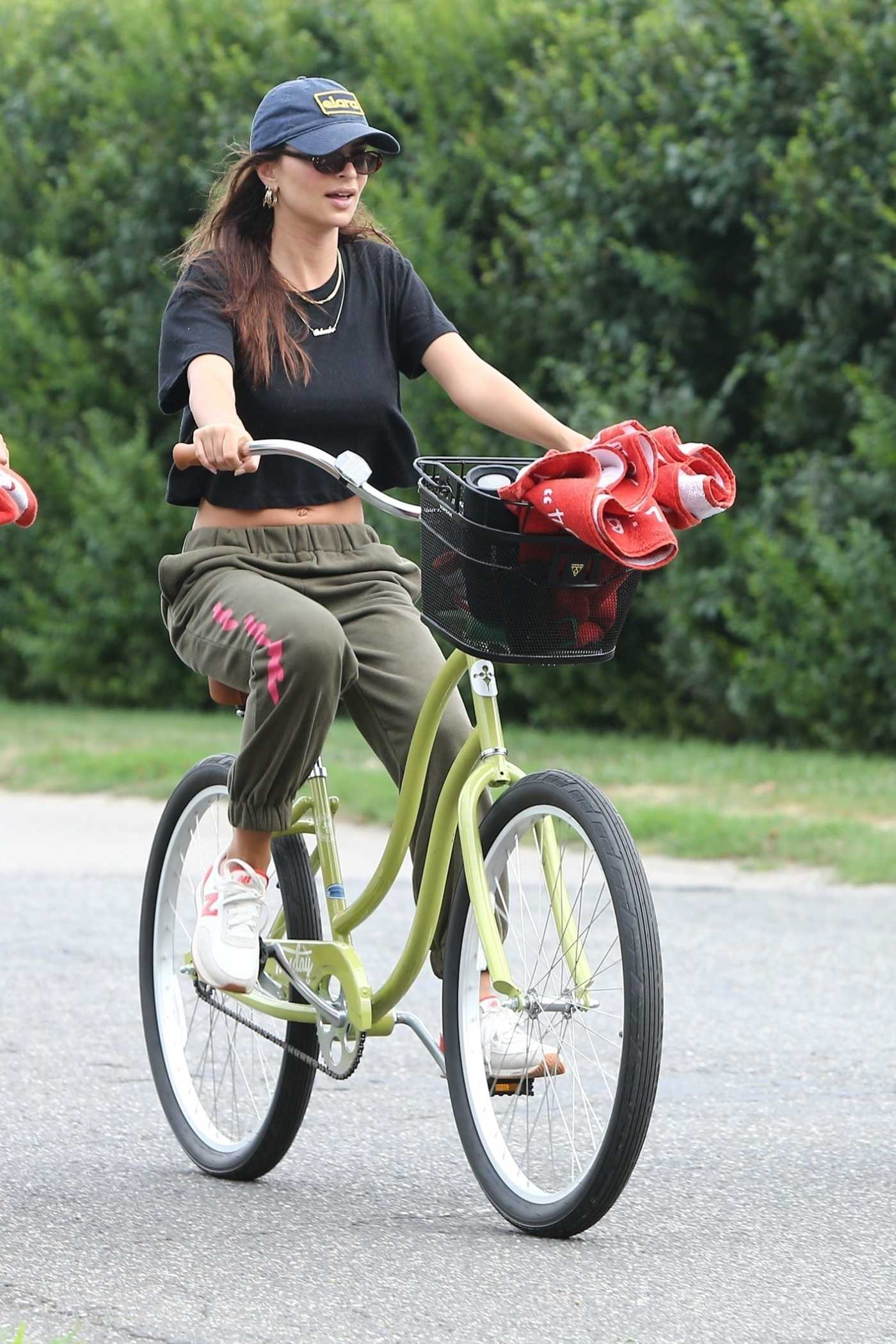 Emily Ratajkowski in a Blue Cap Does a Bike Ride in the Hamptons, New York 08/13/2020