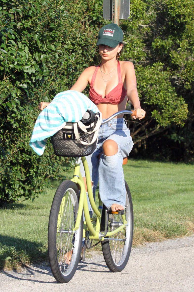 Emily Ratajkowski in a Red Bikini Top