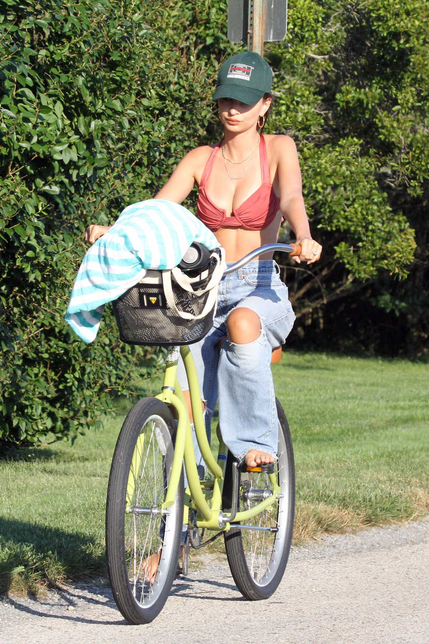 Emily Ratajkowski in a Red Bikini Top Does a Bike Ride in the Hamptons, New York 08/05/2020